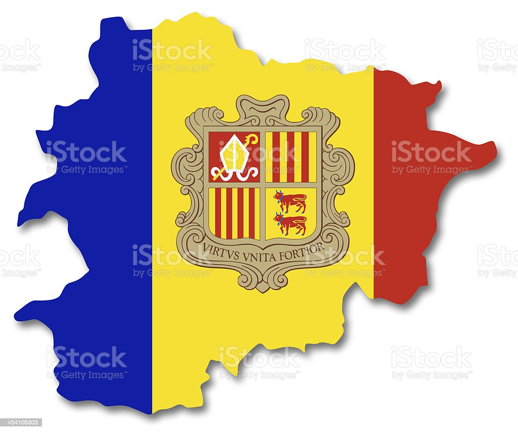 Map and flag of Andorra stock photo