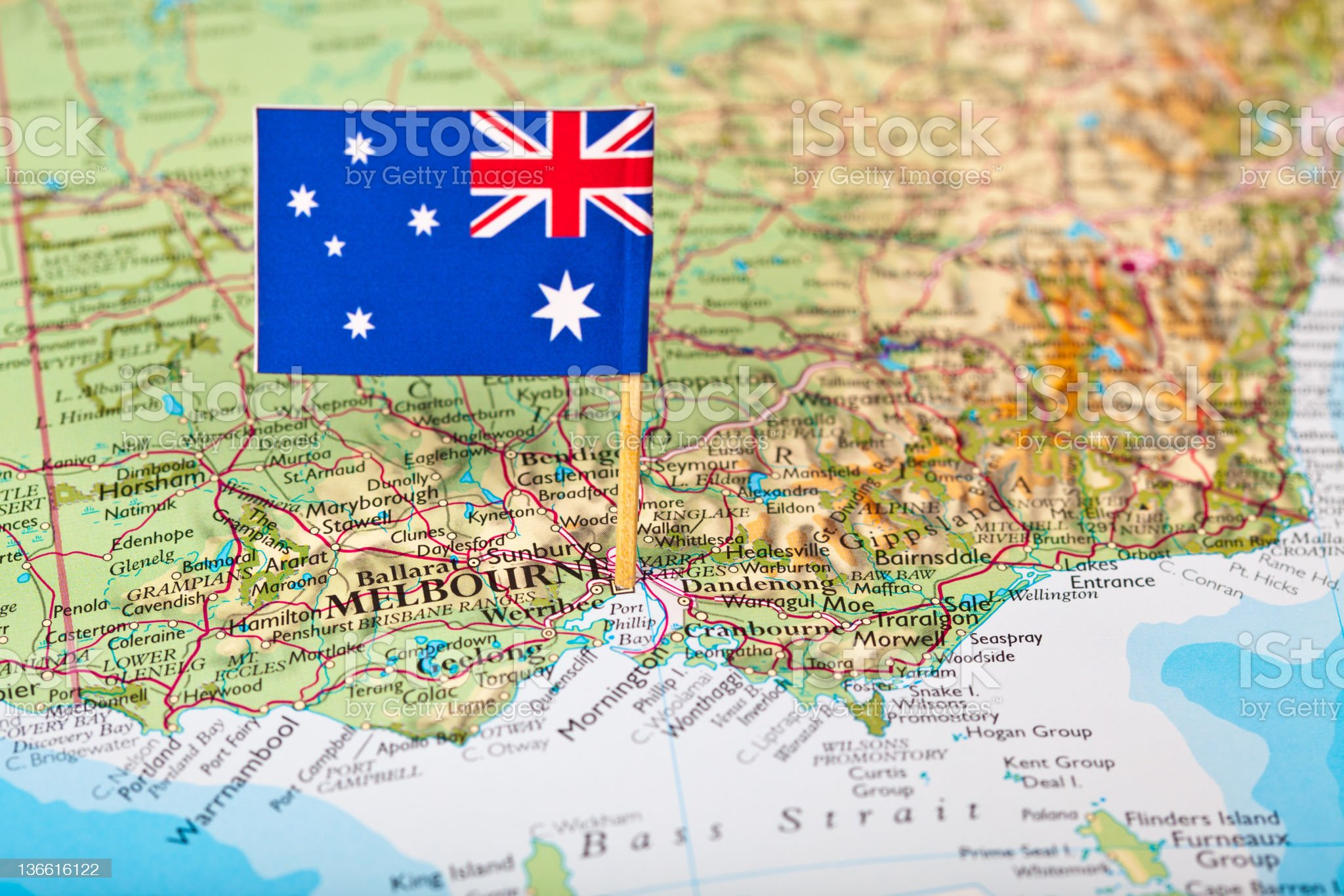 Map and Flag of Australia royalty-free stock photo