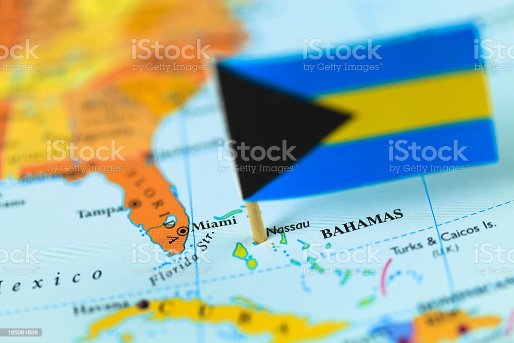 Map and flag of Bahamas royalty-free stock photo