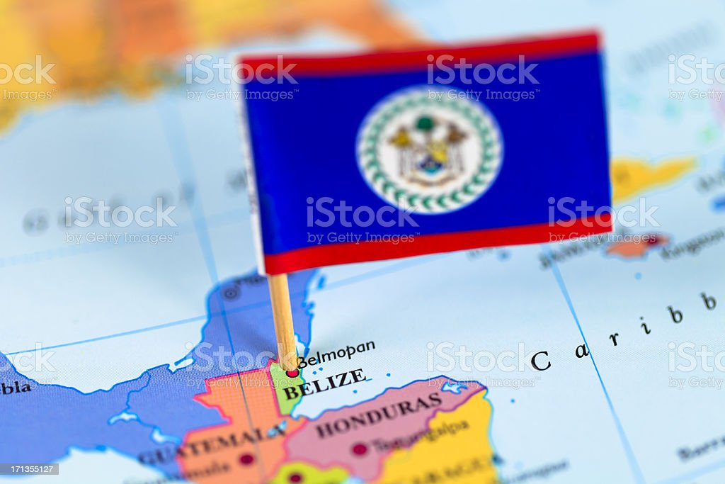Map and flag of Belize stock photo