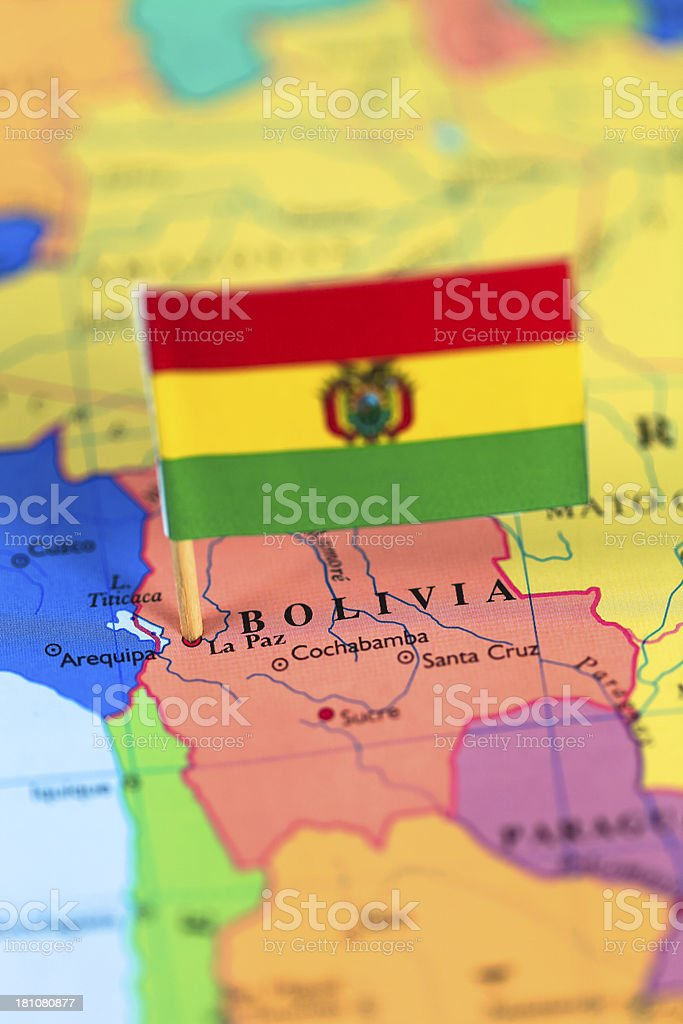 Map and flag of Bolivia royalty-free stock photo