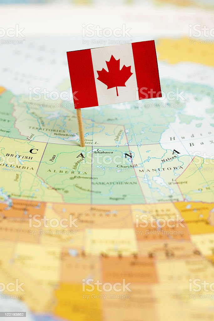 Map and Flag of Canada royalty-free stock photo