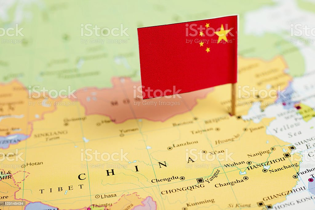 Map and Flag of China stock photo