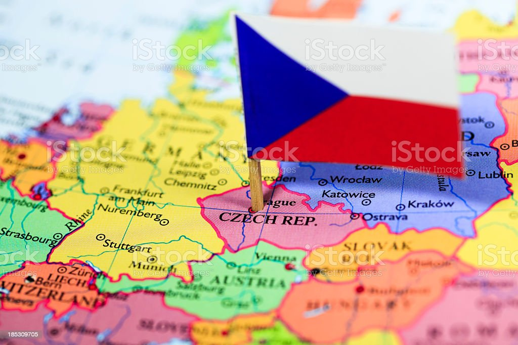 Map and flag of Czech Republic royalty-free stock photo