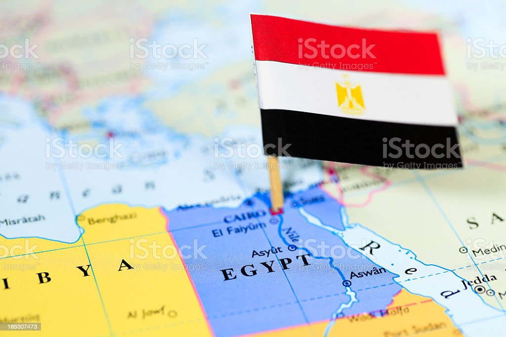 Map and flag of Egypt stock photo