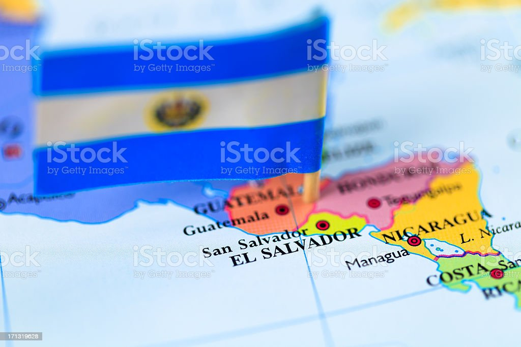 Map and flag of El Salvador stock photo