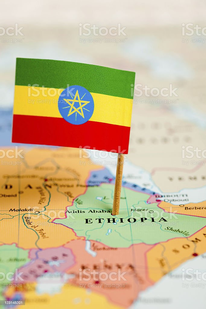 Map and Flag of Ethiopia royalty-free stock photo