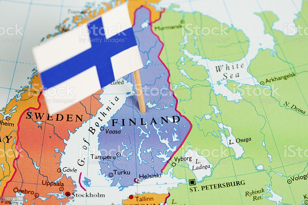 Map and Flag of Finland stock photo