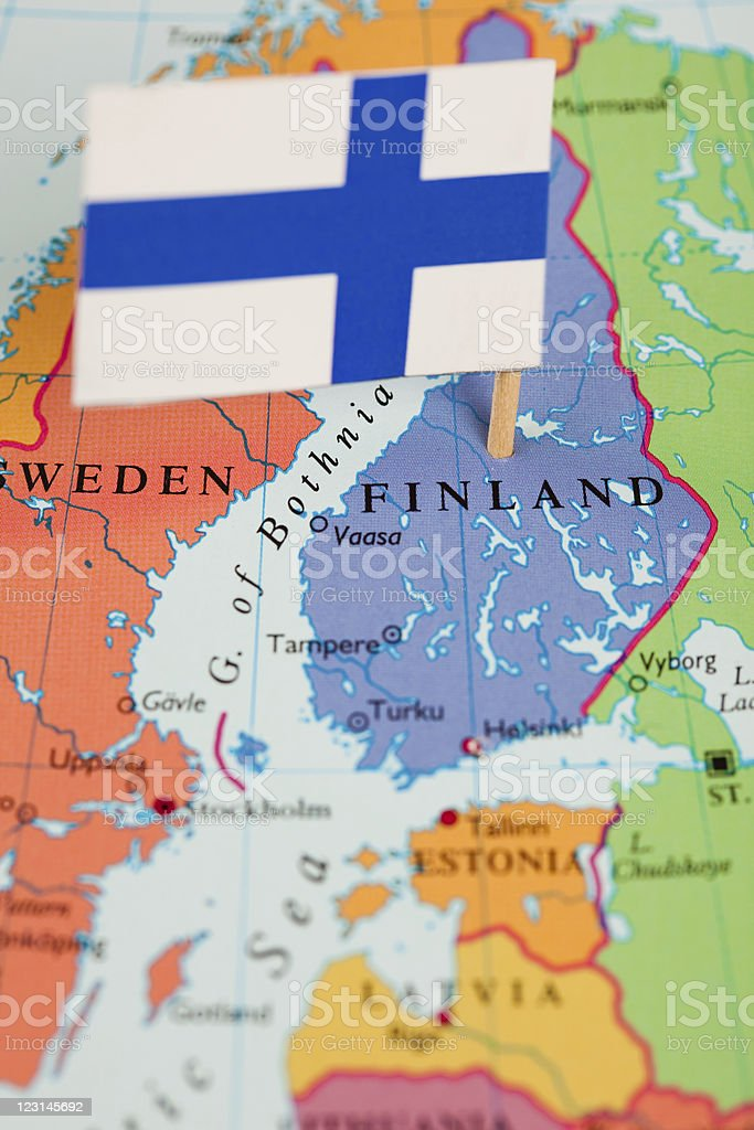 Map and Flag of Finland royalty-free stock photo