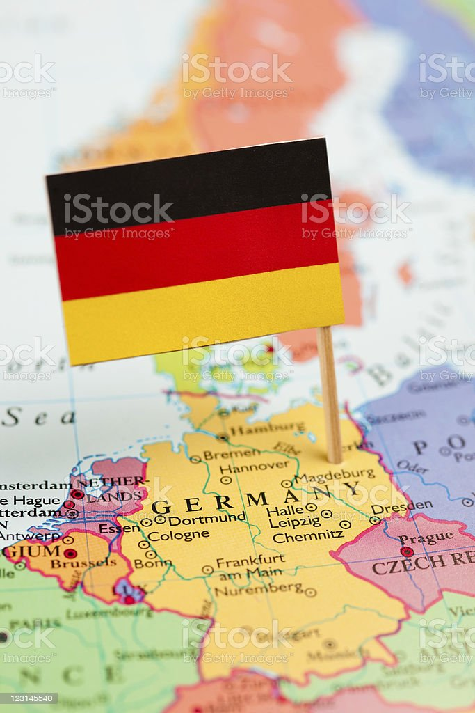 Map and Flag of Germany stock photo