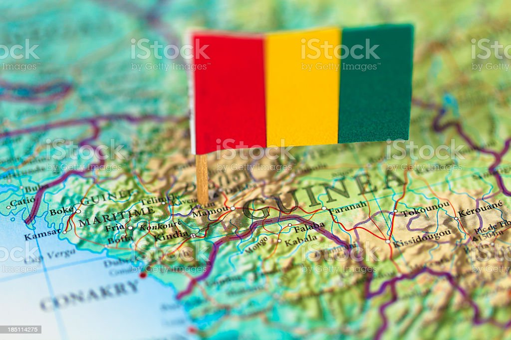 Map and flag of Guinea stock photo