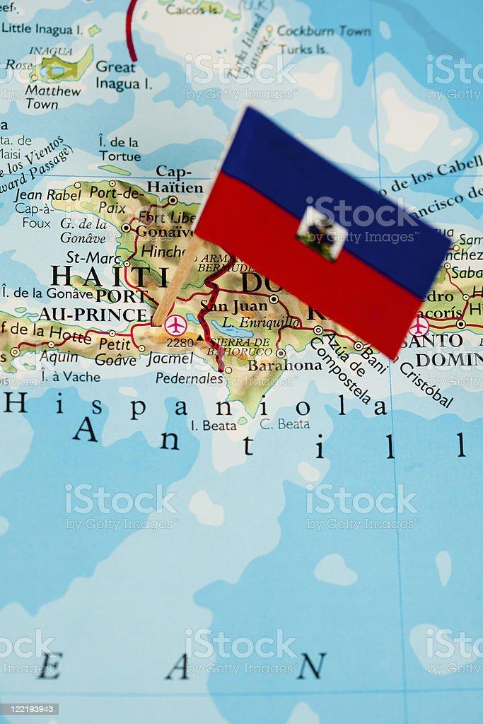 Map and flag of Haiti royalty-free stock photo
