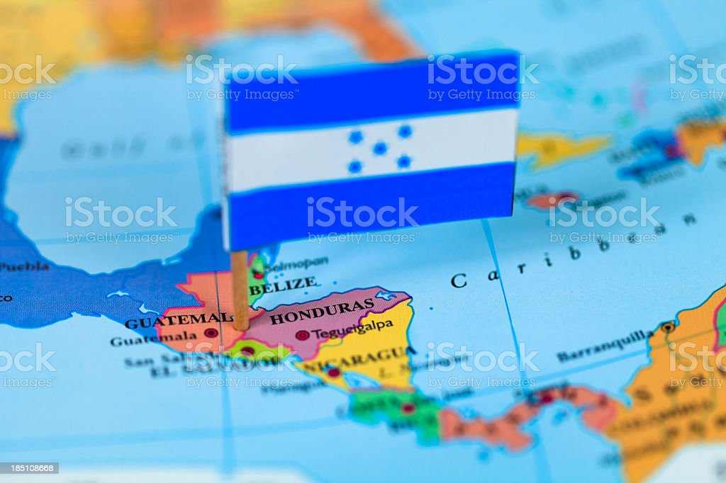 Map and flag of Honduras stock photo