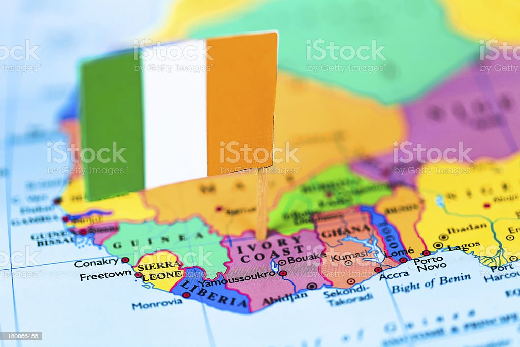 Map and flag of Ivory Coast stock photo