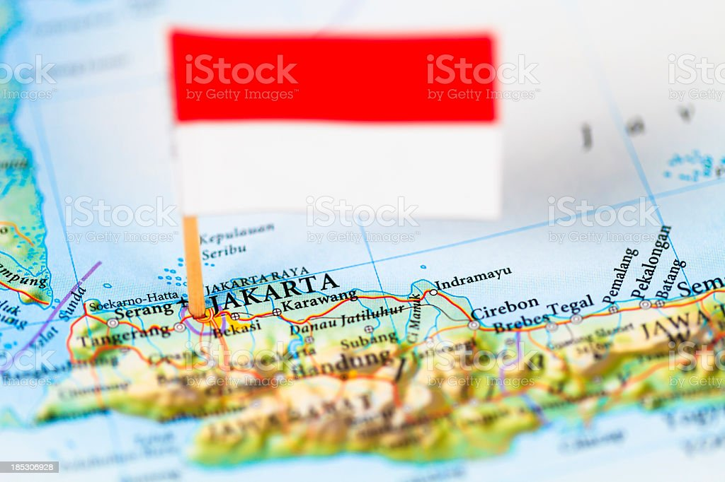 Map and flag of Jakarta, Indonesia stock photo