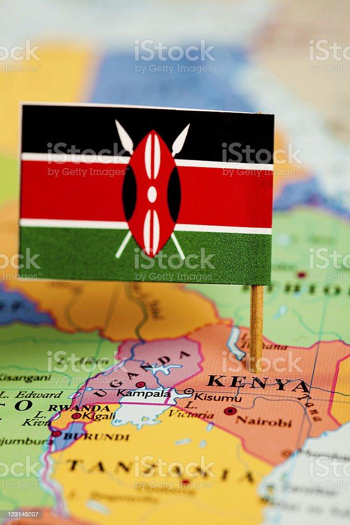 Map and Flag of Kenya royalty-free stock photo
