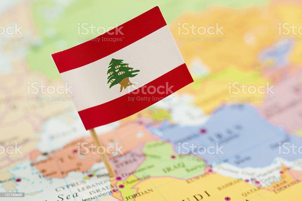 Map and Flag of Lebanon stock photo