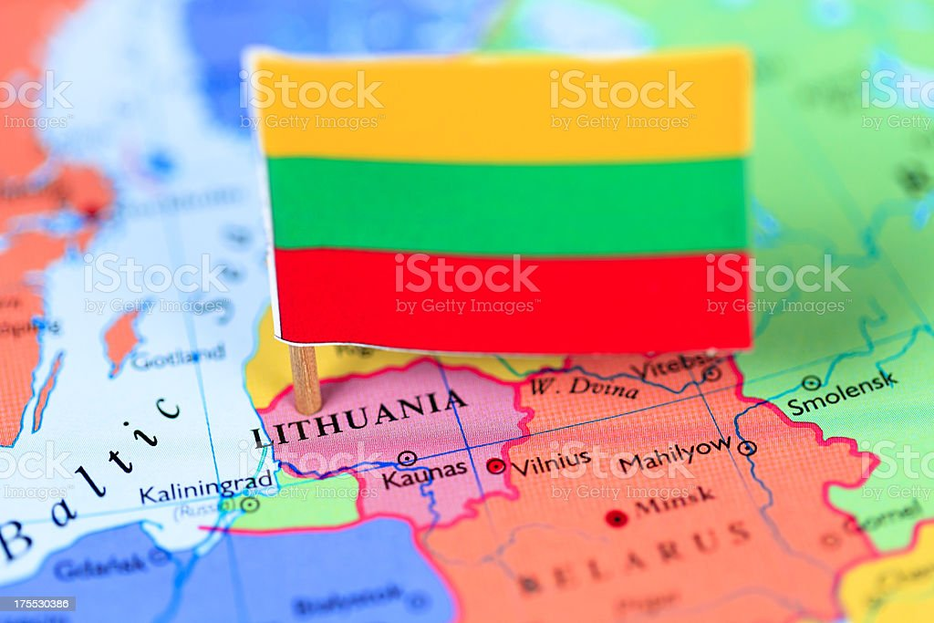 Map and flag of Lithuania stock photo