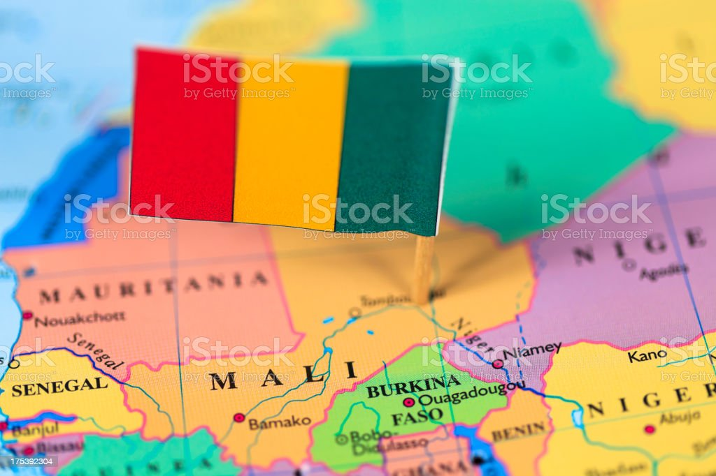 Map and flag of Mali stock photo