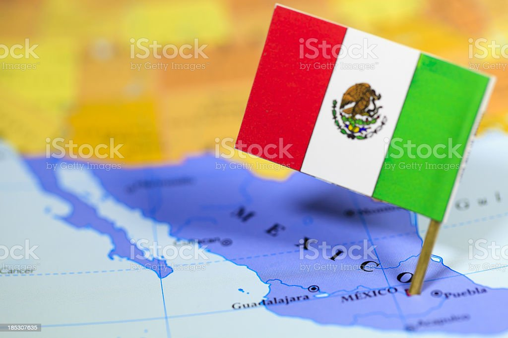Map and flag of Mexico stock photo