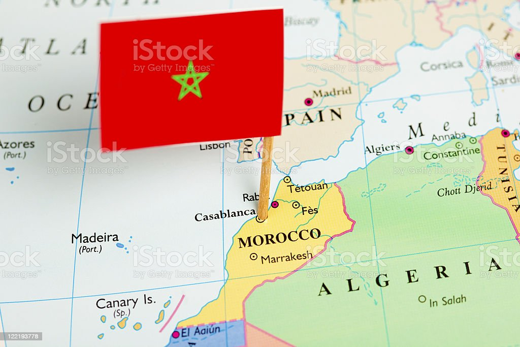 Map and Flag of Morocco stock photo
