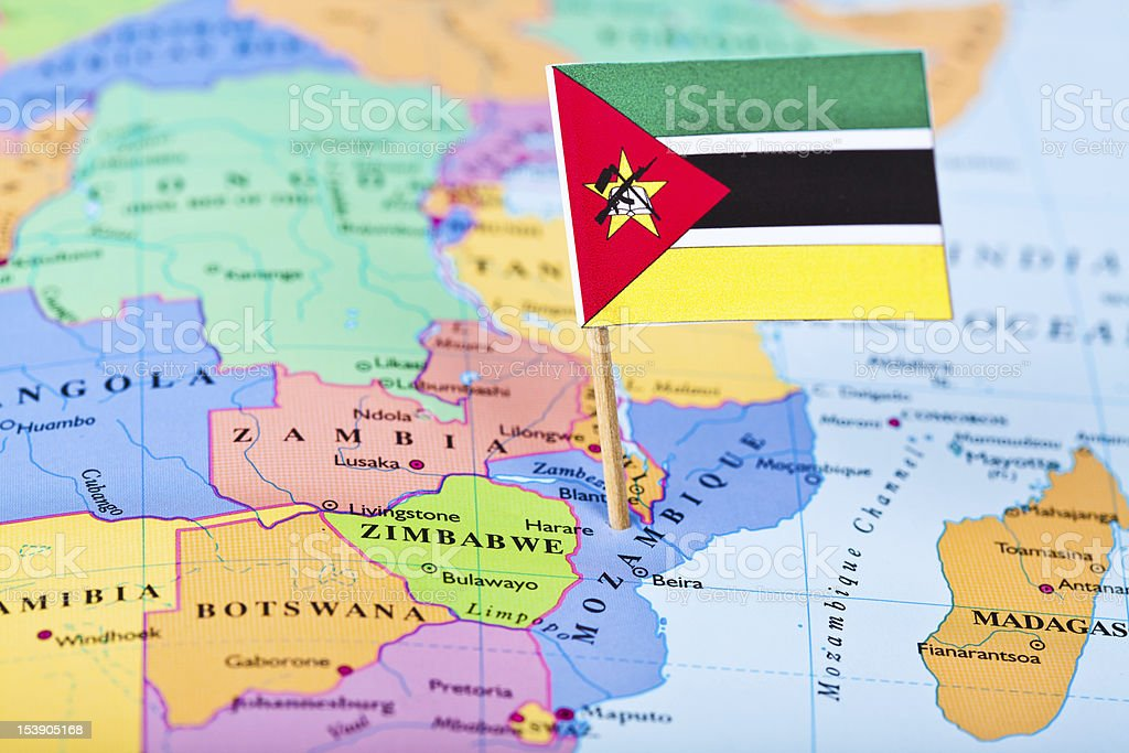 Map and flag of Mozambique royalty-free stock photo
