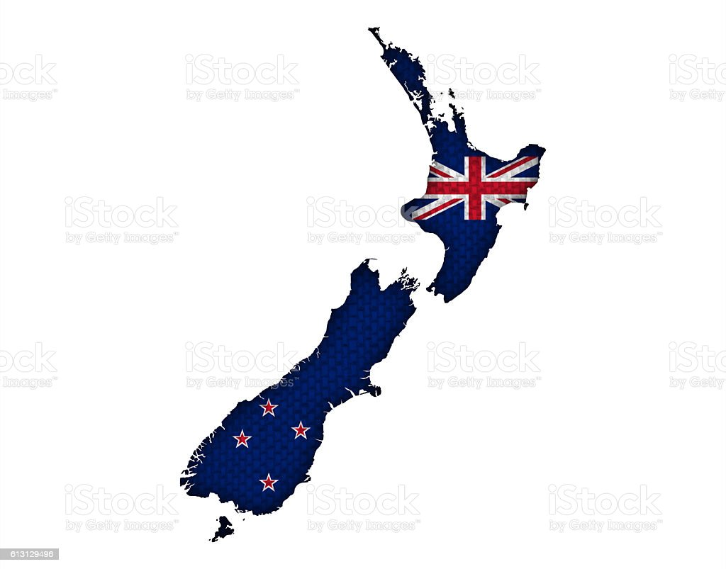 Map and flag of New Zealand, stock photo