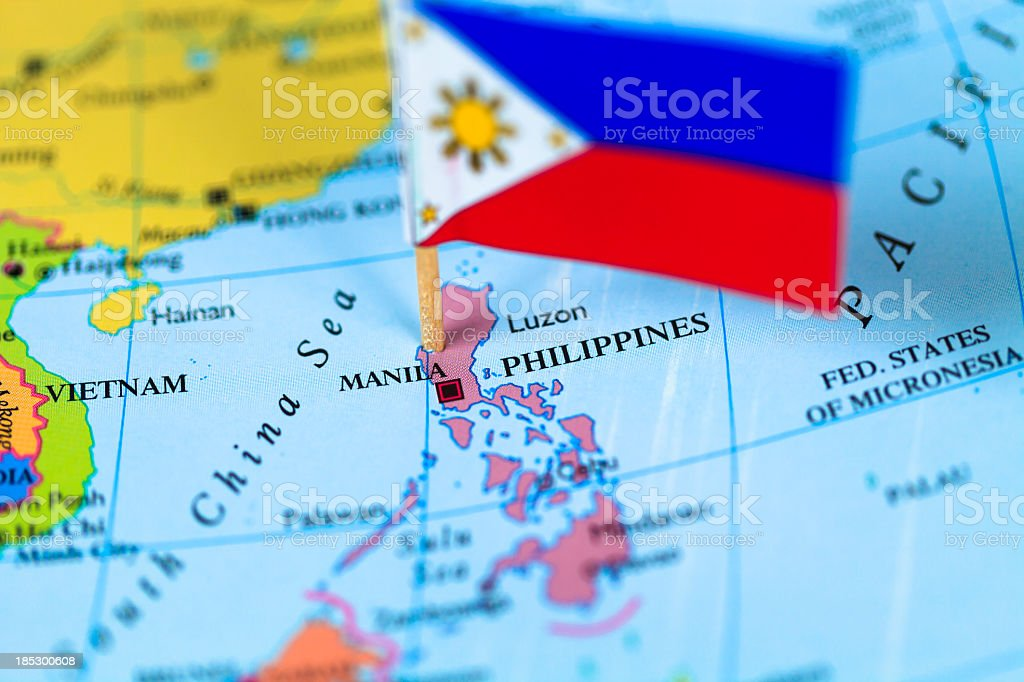 Map and flag of Philippines stock photo