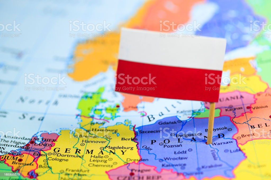 Map and flag of Poland stock photo