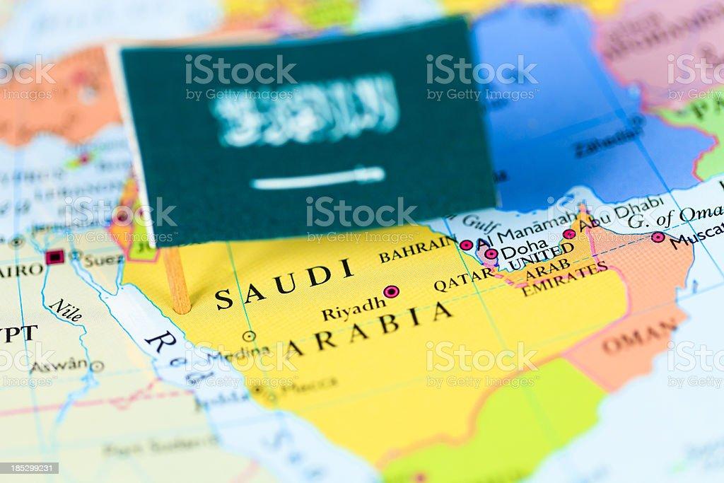 Map and flag of Saudi Arabia stock photo
