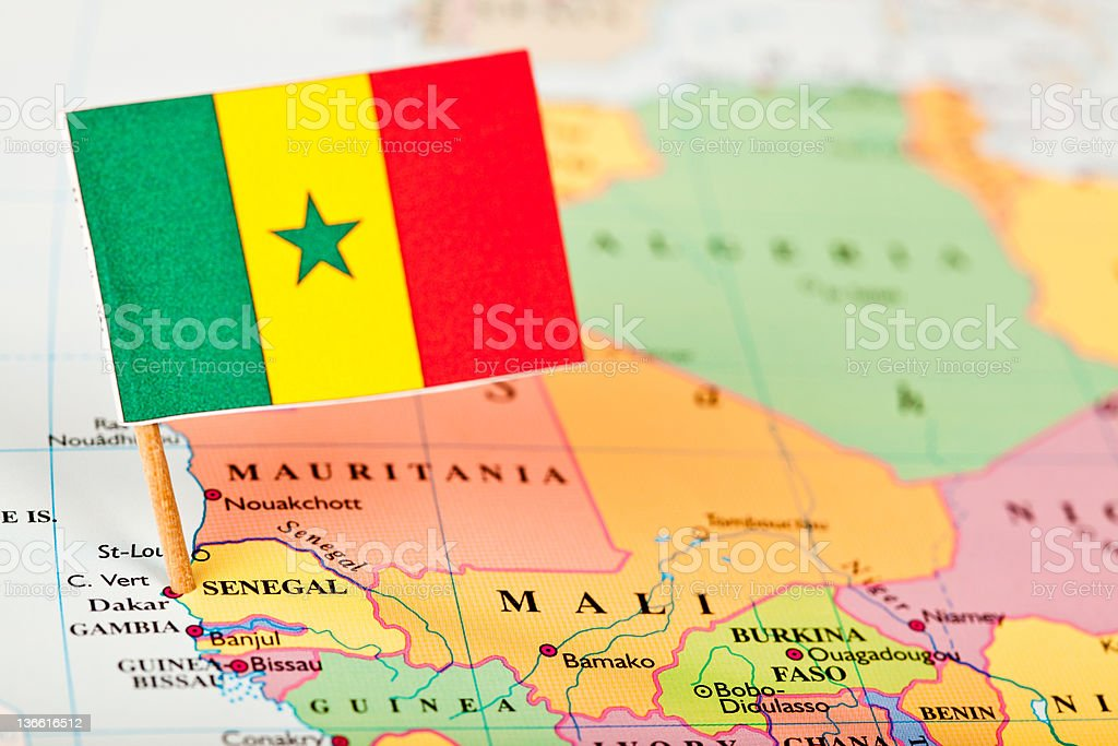 Map and Flag of Senegal stock photo