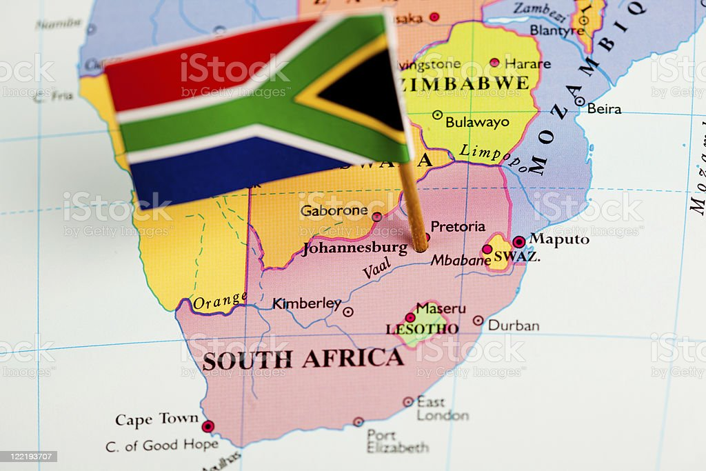Map and Flag of South Africa stock photo