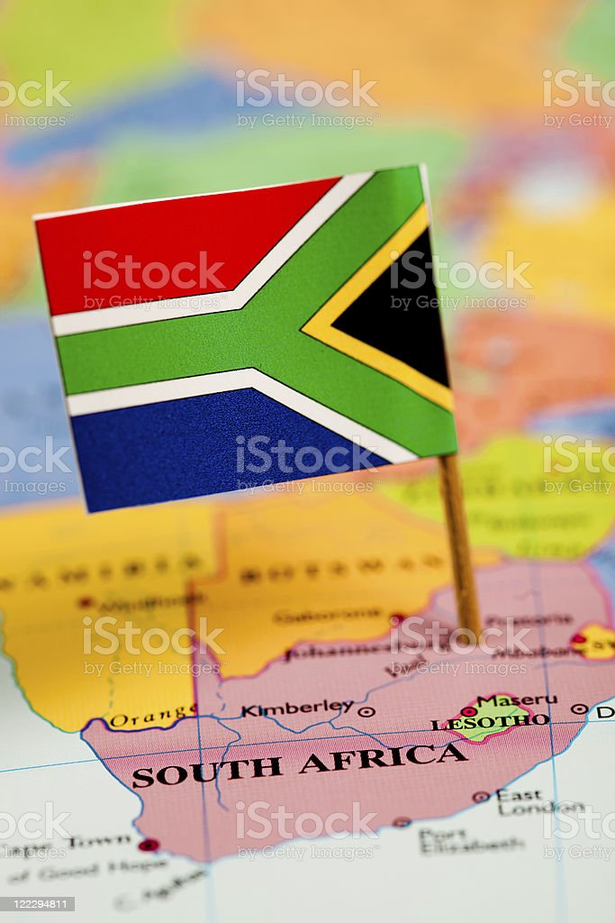 Map and Flag of South Africa royalty-free stock photo