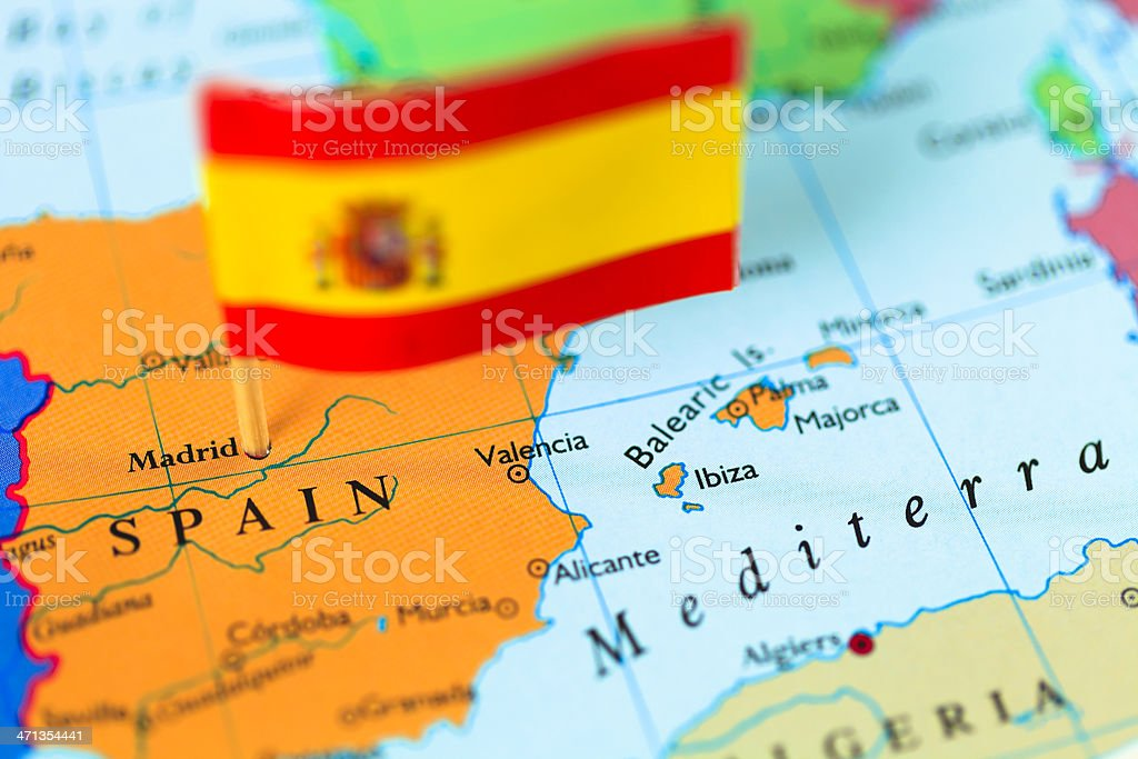 Map and Flag of Spain stock photo