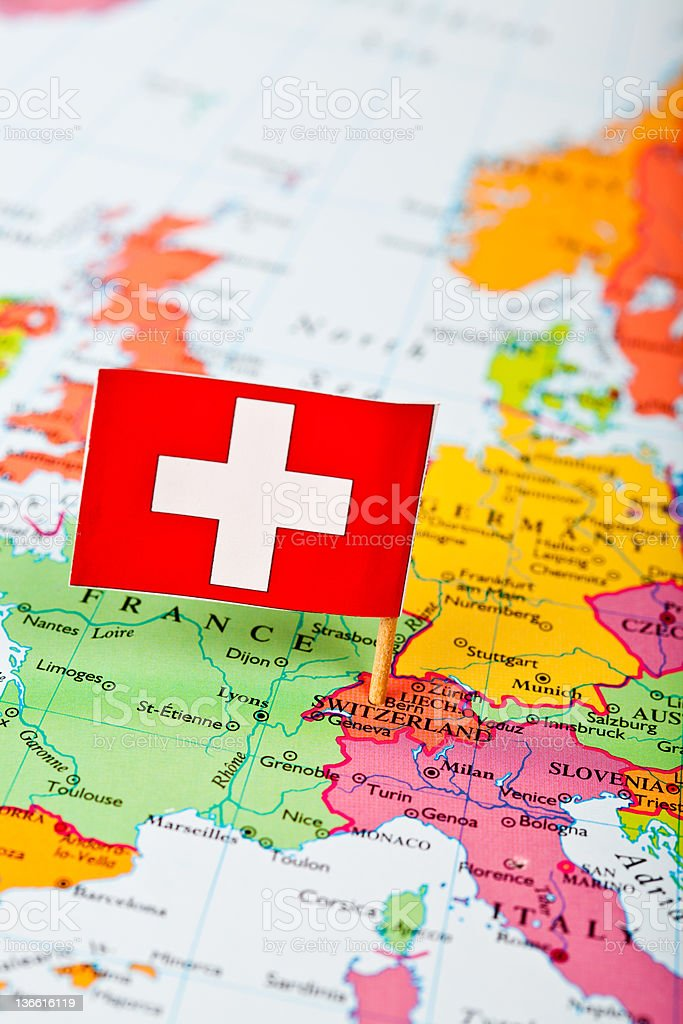 Map and Flag of Switzerland royalty-free stock photo