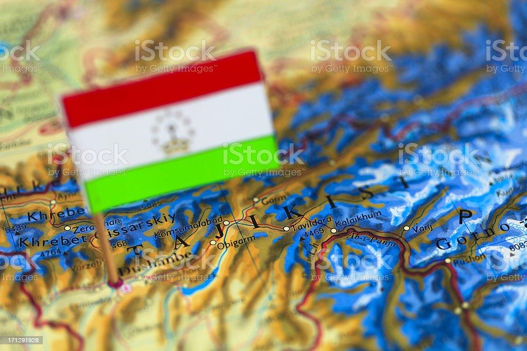 Map and Flag of Tajikistan stock photo