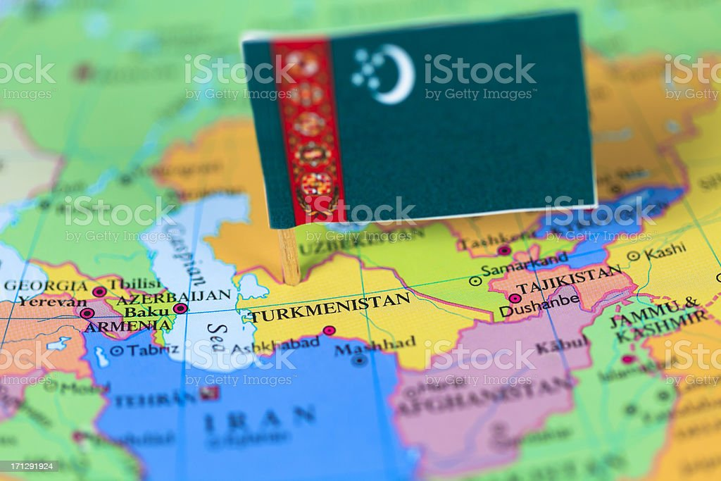 Map and flag of Turkmenistan stock photo
