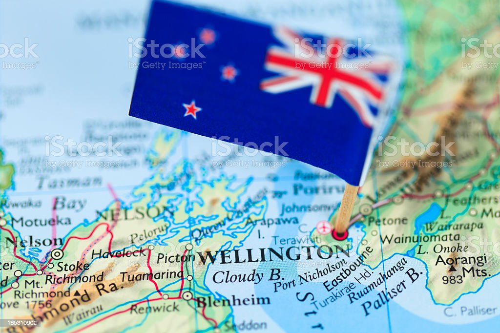 Map and Flag of Wellington, New Zealand stock photo