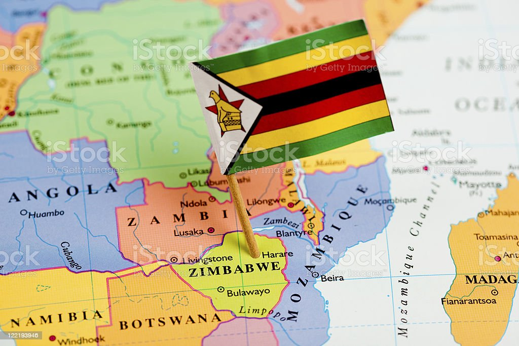 Map and Flag of Zimbabwe stock photo