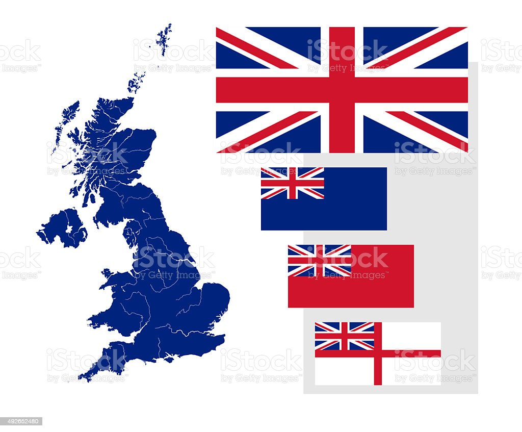 Map and flags of the United Kingdom stock photo