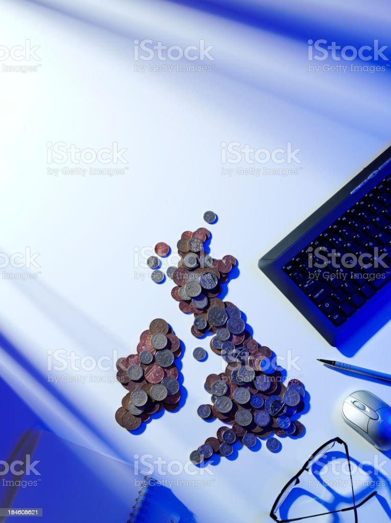 Map and Money in the Office royalty-free stock photo