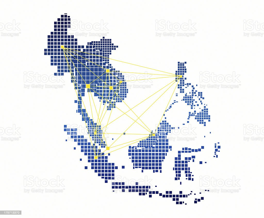 AEC Map and network on white background stock photo