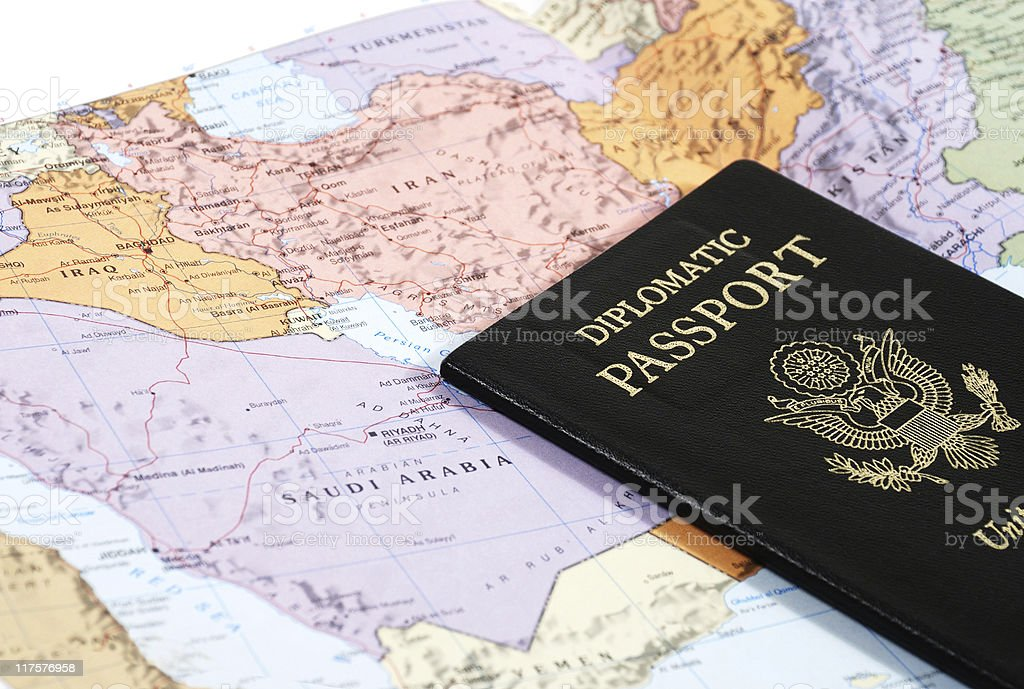 Map and passport stock photo