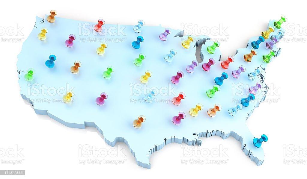 USA Map and Thumbtack royalty-free stock photo