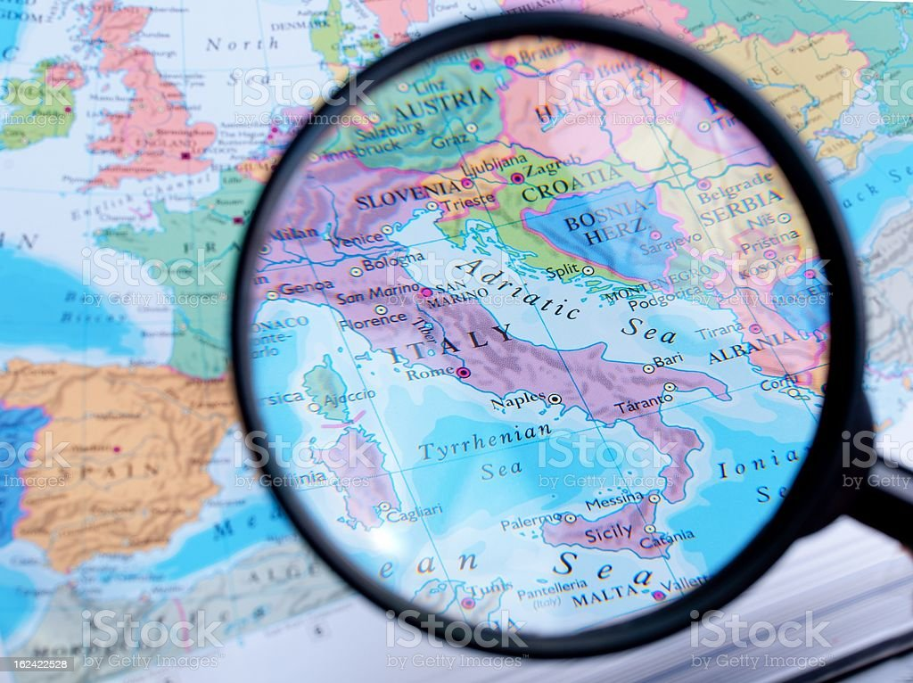 Map and Zoom Lens, Italy royalty-free stock photo