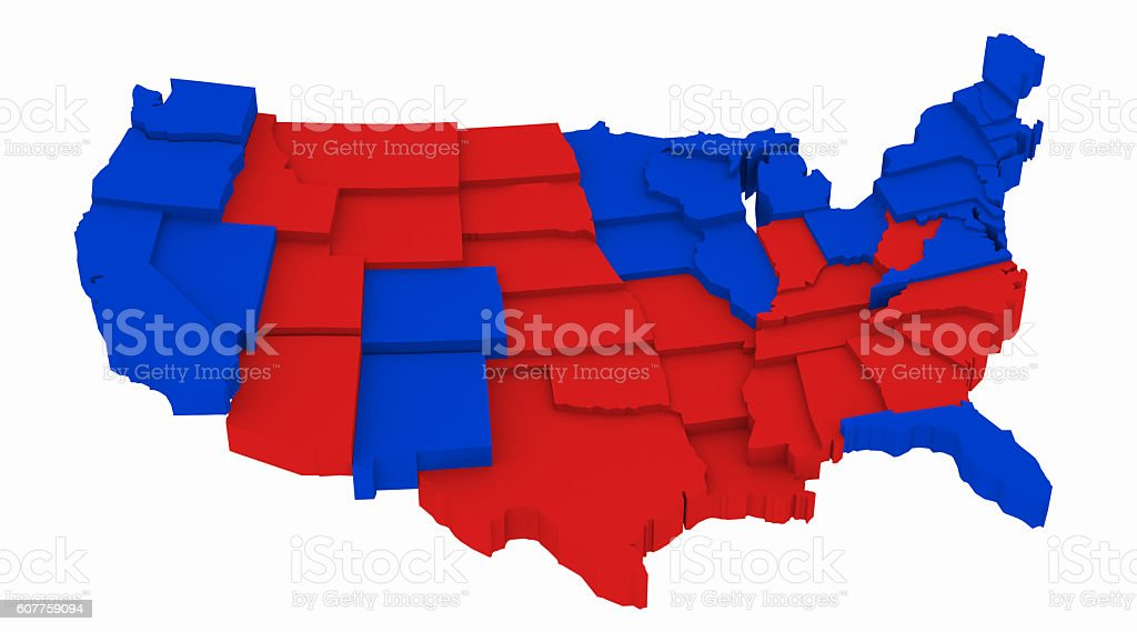 USA Map by State Presidential Elections 2012. 3D Rendering Illustration stock photo