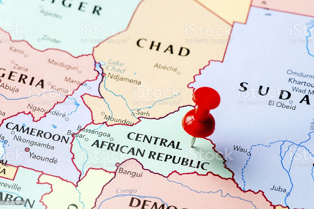 Map Central African Republic stock photo