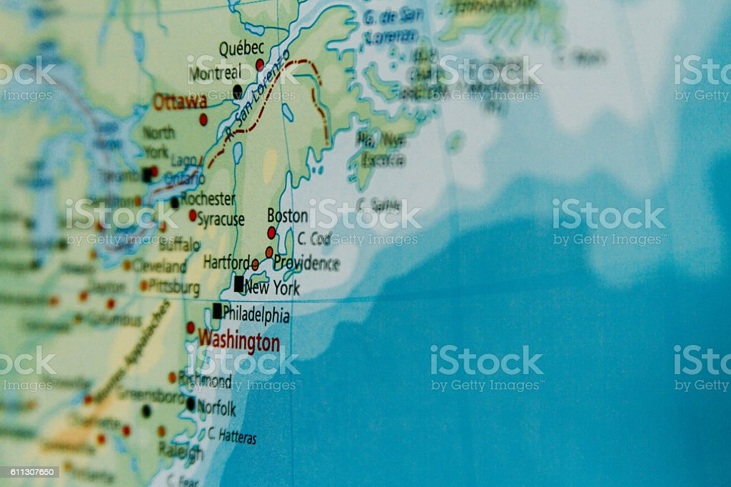 Map closeup macro in Washington and New York, USA stock photo