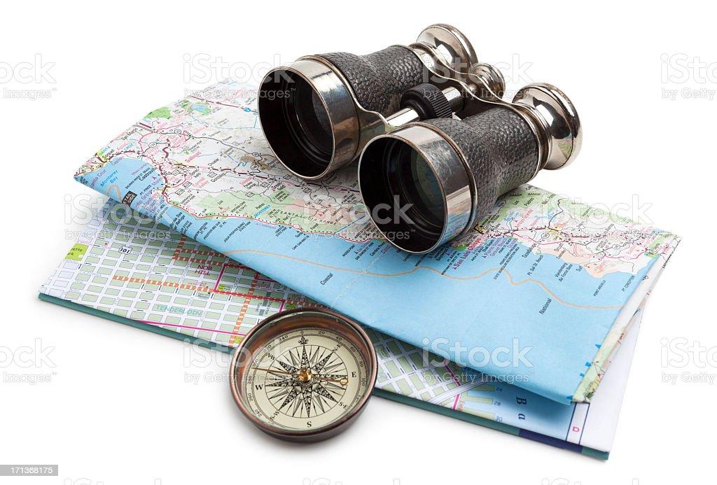 Map, compass and binoculars stock photo