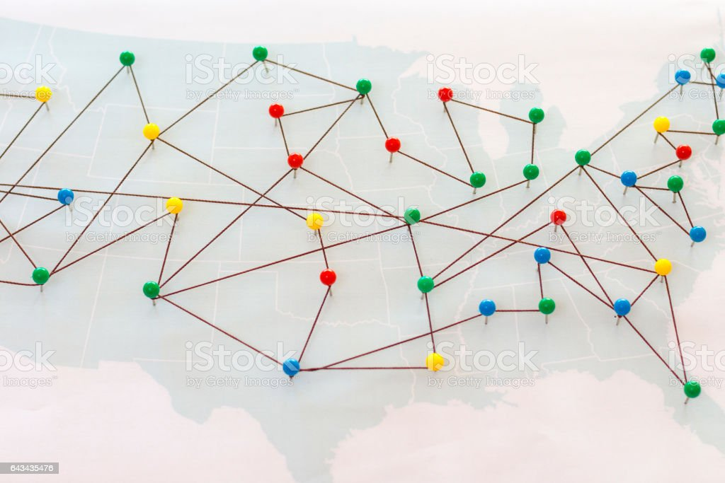 USA map connected by pushpins stock photo